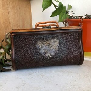 Vintage Wooden Box Purse - Heart And Rattan Sides